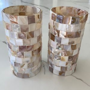 2 Mother of Pearl Candles